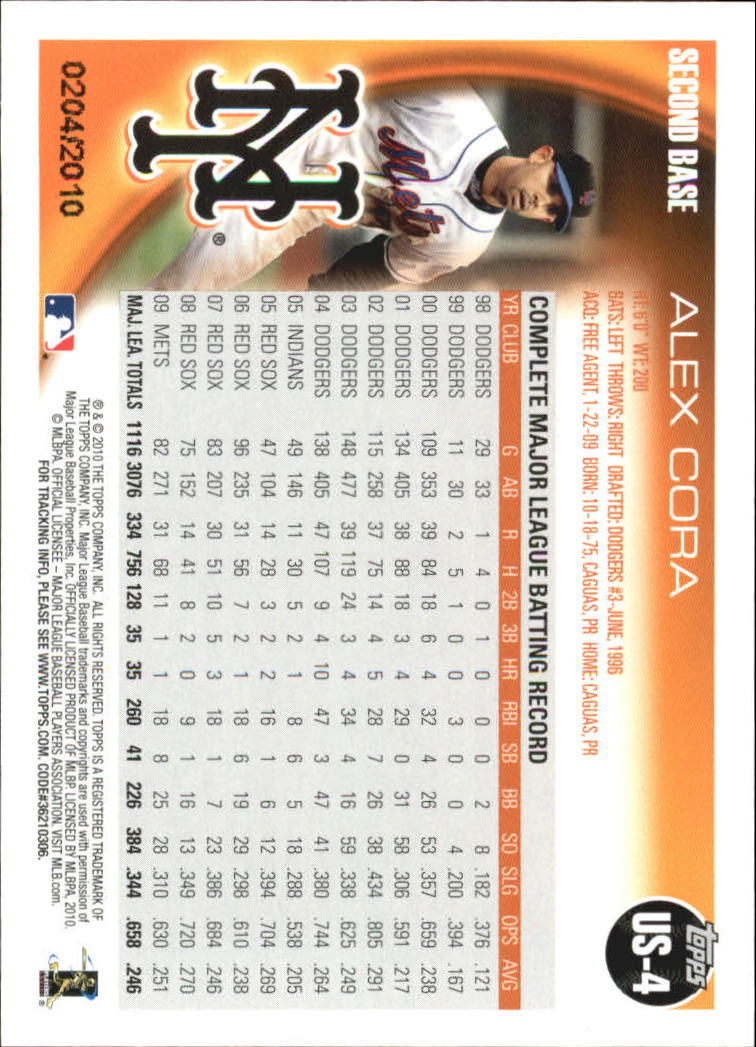 2010 Topps Update Gold #US4 Alex Cora