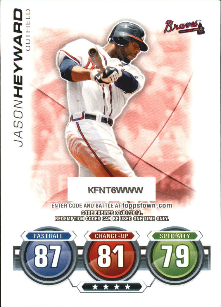 2010 Topps Update Attax Code Cards #32 Jason Heyward back image