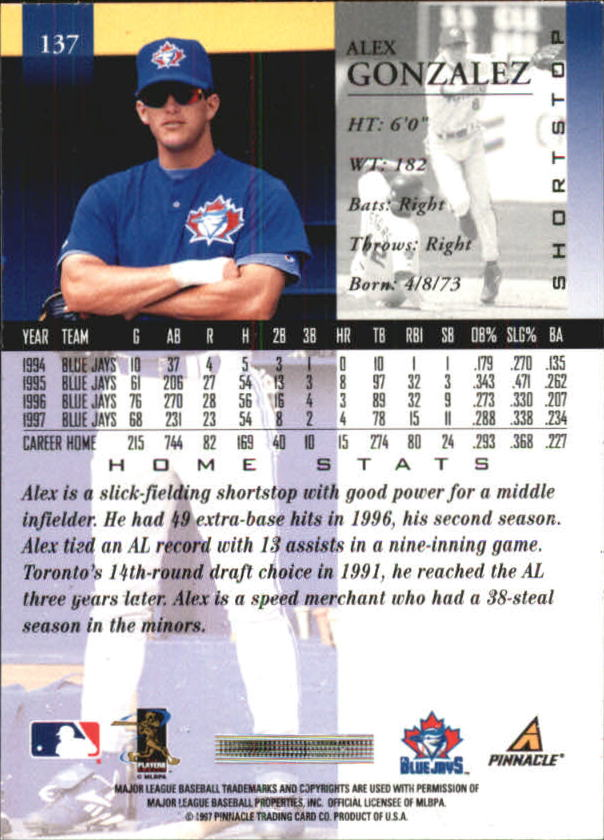1998 Pinnacle Home Statistics Back #137 Alex Gonzalez