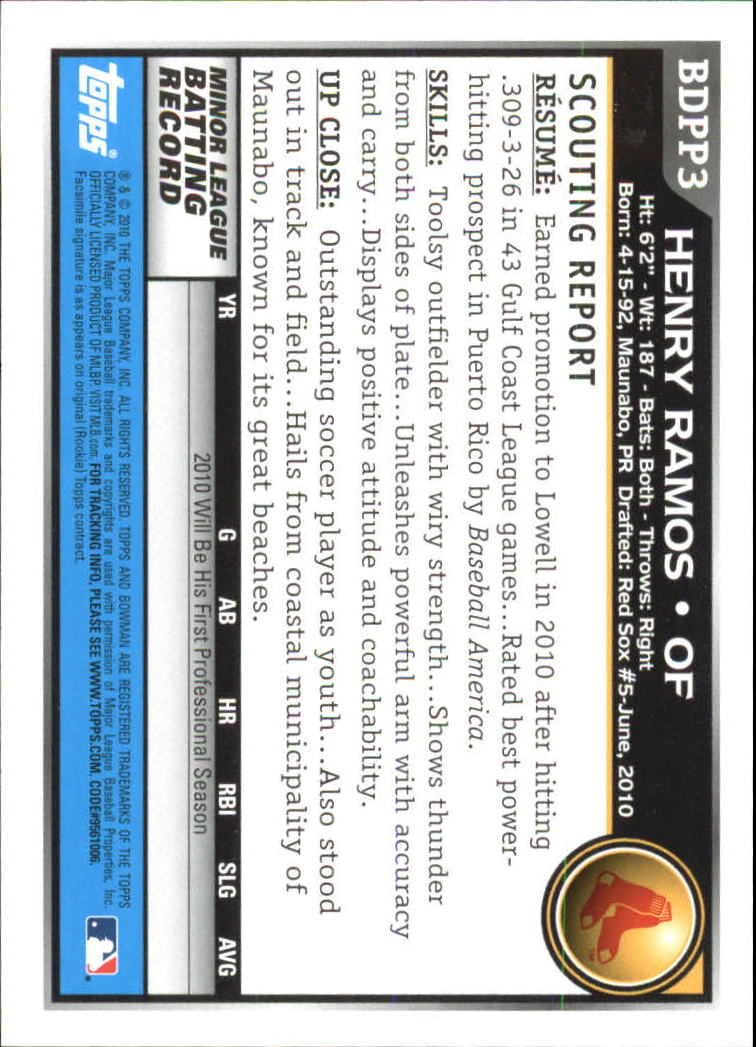2010 Bowman Draft Prospects #BDPP3 Henry Ramos back image