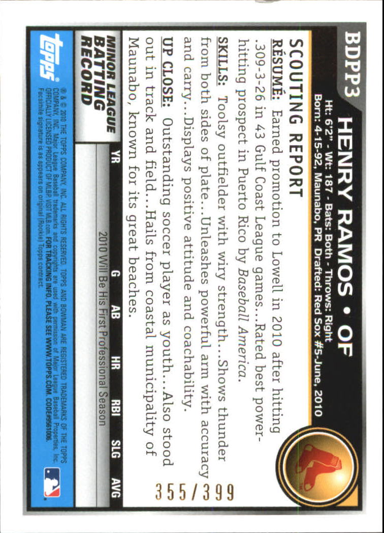 2010 Bowman Draft Prospects Blue #BDPP3 Henry Ramos back image