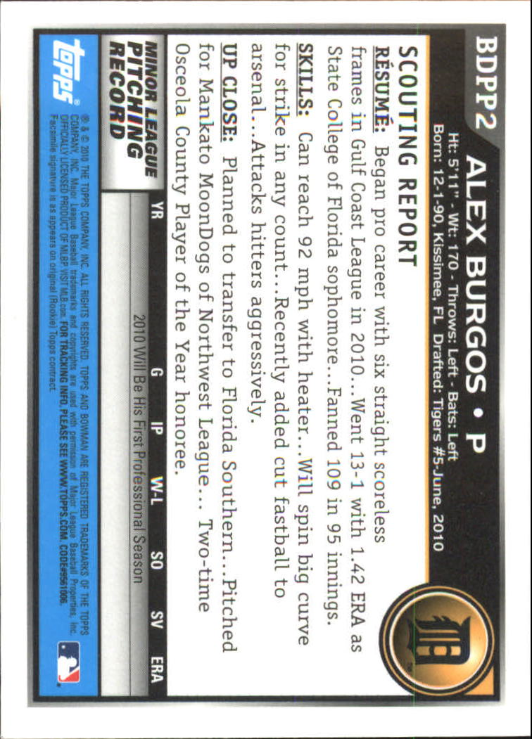 2010 Bowman Draft Prospects Gold #BDPP2 Alex Burgos