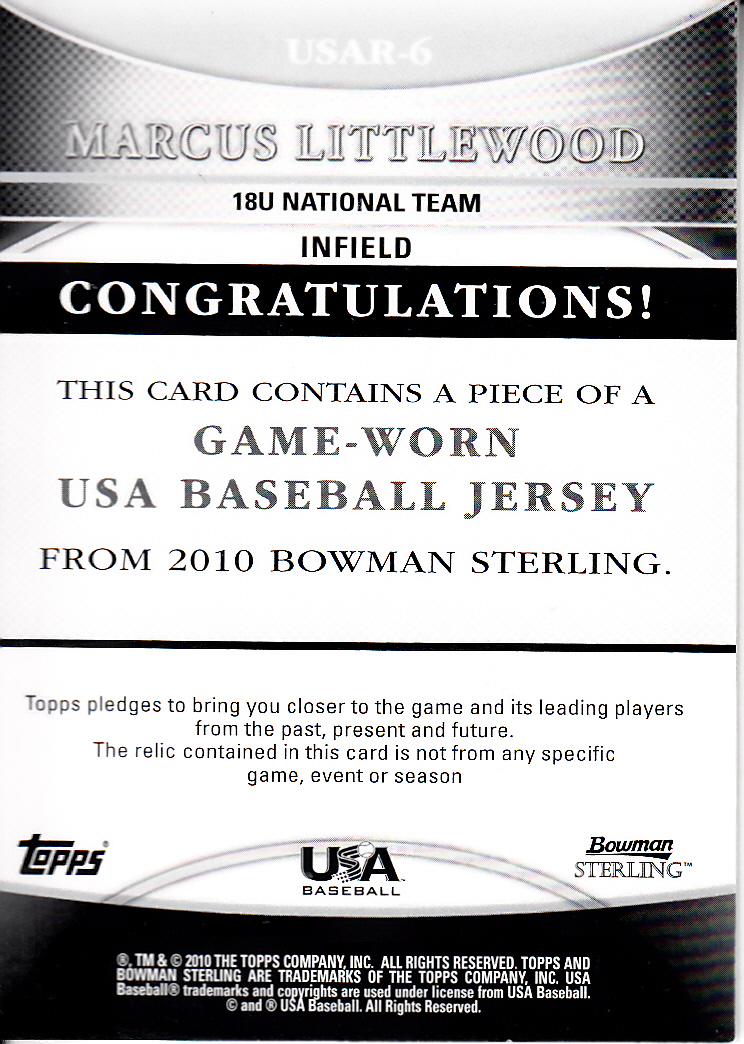 2010 Bowman Sterling USA Baseball Relics #USAR5 Francisco Lindor back image