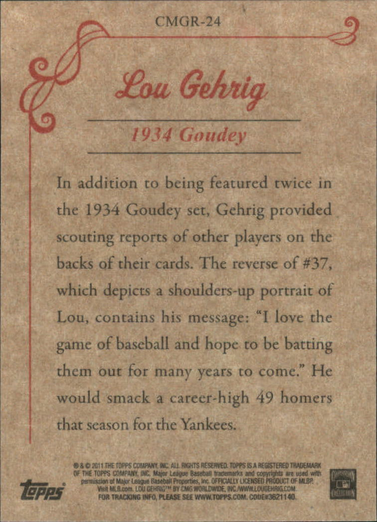 2011 Topps CMG Reprints #CMGR24 Lou Gehrig back image