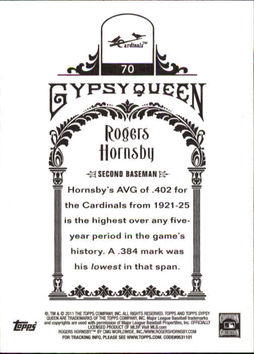 2011 Topps Gypsy Queen #70 Rogers Hornsby back image