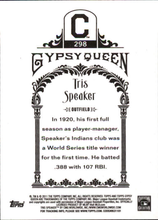 2011 Topps Gypsy Queen #298 Tris Speaker back image