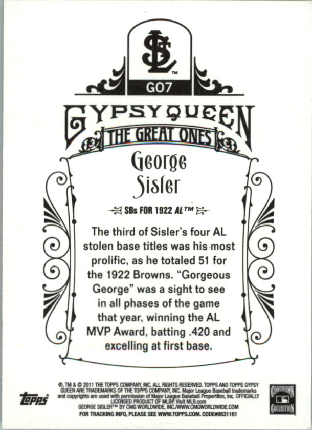 2011 Topps Gypsy Queen Great Ones #GO7 George Sisler back image