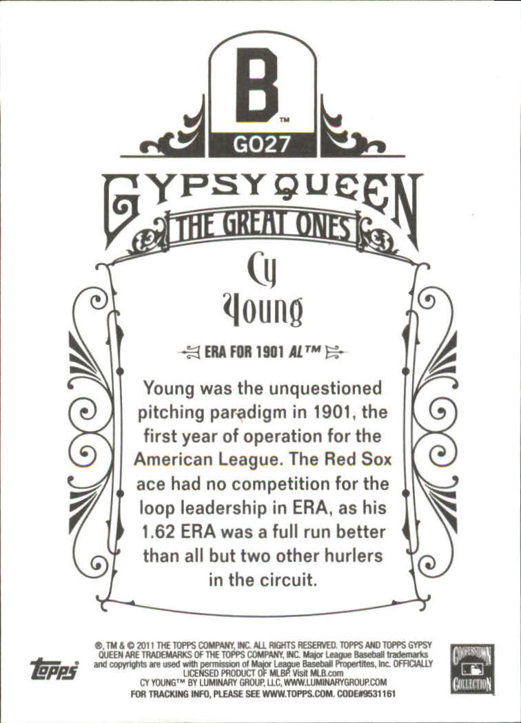 2011 Topps Gypsy Queen Great Ones #GO27 Cy Young back image