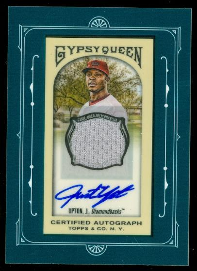 2011 Topps Gypsy Queen Framed Mini Relic Autographs #JU Justin Upton