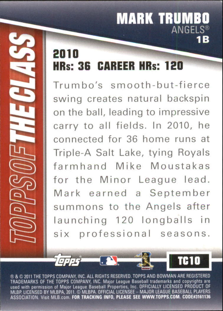 2011 Bowman Topps of the Class #TC10 Mark Trumbo back image