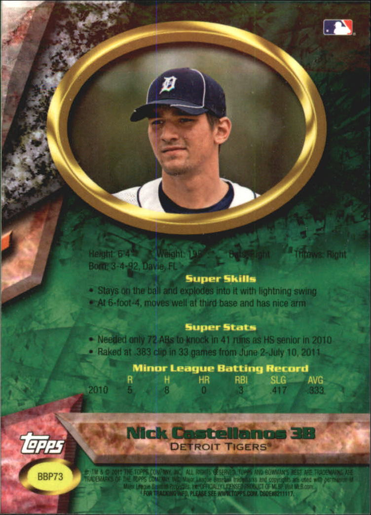 2011 Bowman Bowman's Best Prospects #BBP73 Nick Castellanos back image