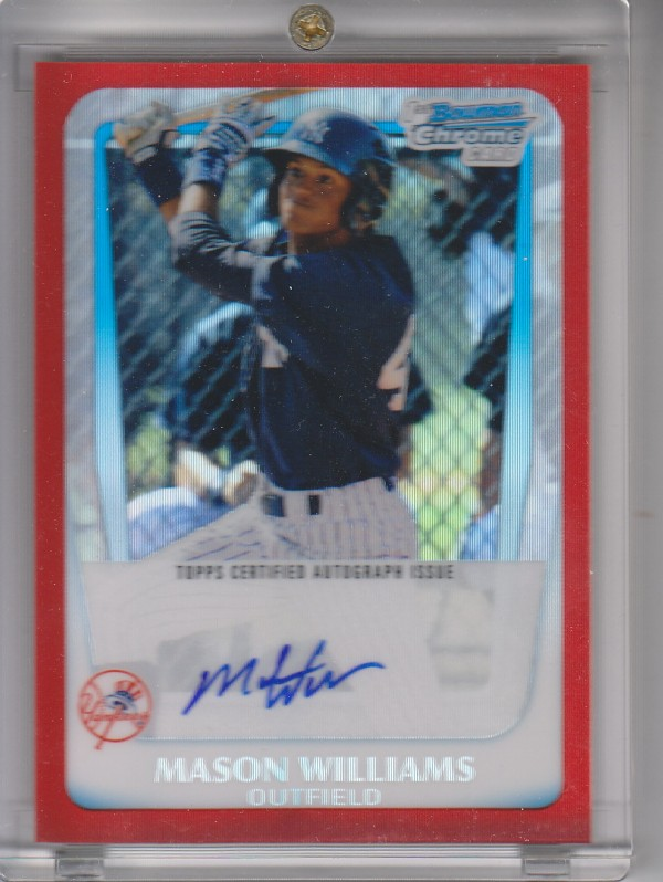 2011 Bowman Chrome Prospect Autographs Red Refractors #BCP85 Mason Williams
