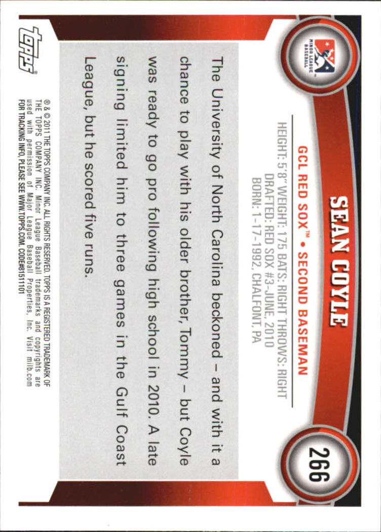 2011 Topps Pro Debut #266 Sean Coyle back image