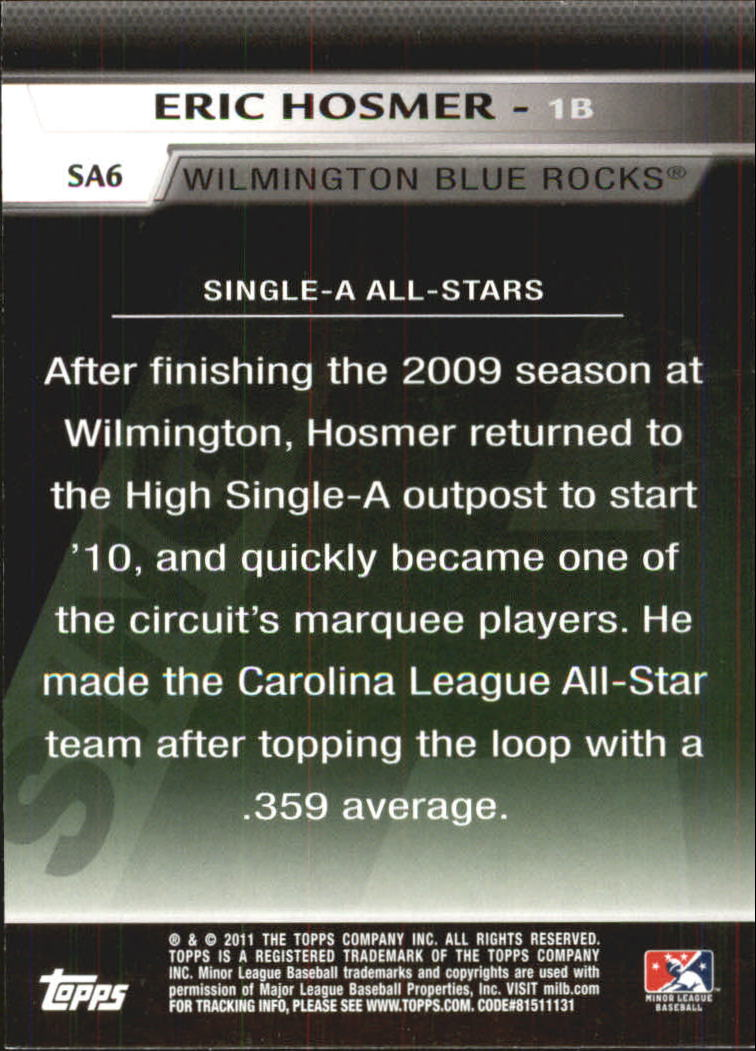 2011 Topps Pro Debut Single-A All Stars #SA6 Eric Hosmer back image