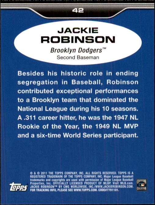 2011 Topps Lineage #42 Jackie Robinson