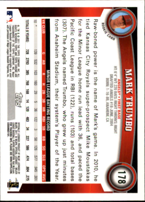 2011 Topps Chrome #178 Mark Trumbo (RC) back image