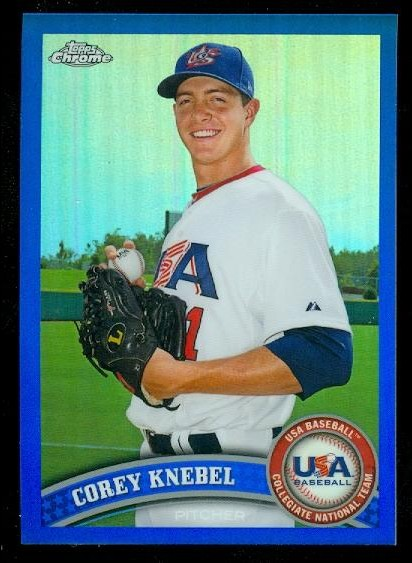 2011 Topps Chrome USA Baseball Blue Refractors #USABB10 Corey Knebel