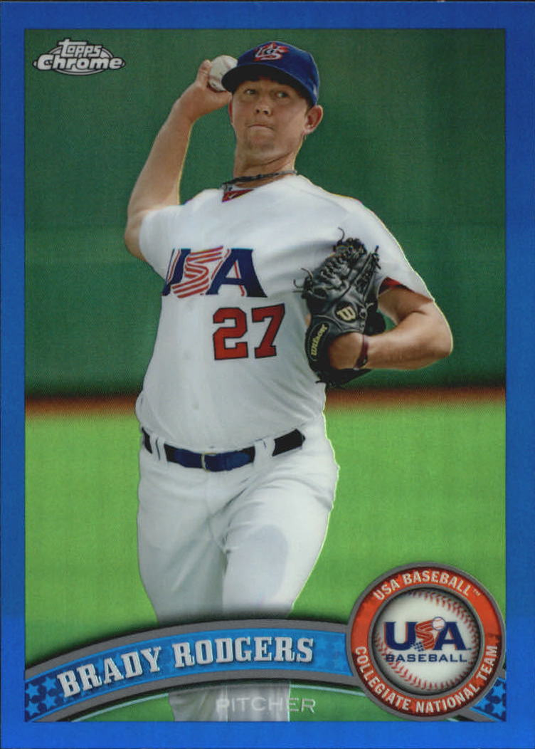 2011 Topps Chrome USA Baseball Blue Refractors #USABB19 Brady Rodgers