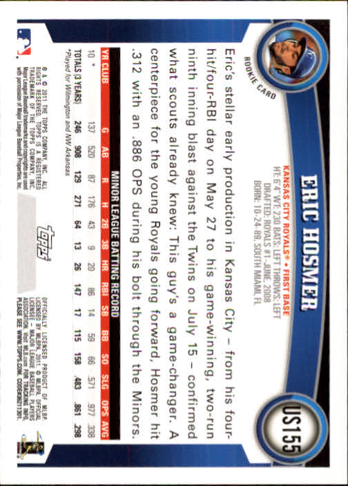 2011 Topps Update #US155 Eric Hosmer RC back image