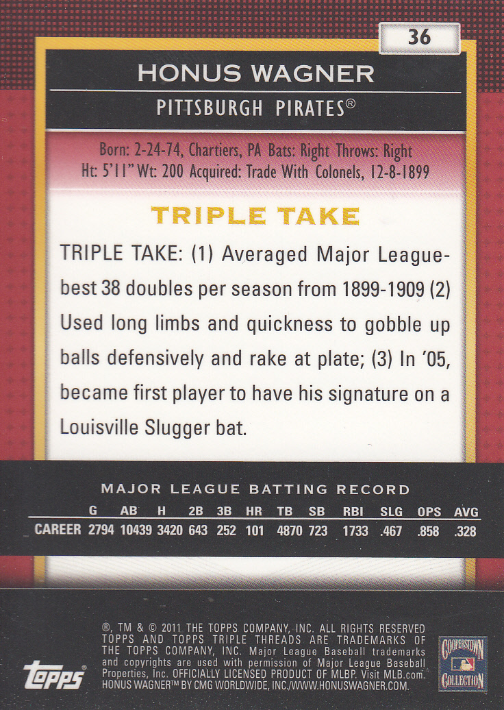 2011 Topps Triple Threads #36 Honus Wagner back image