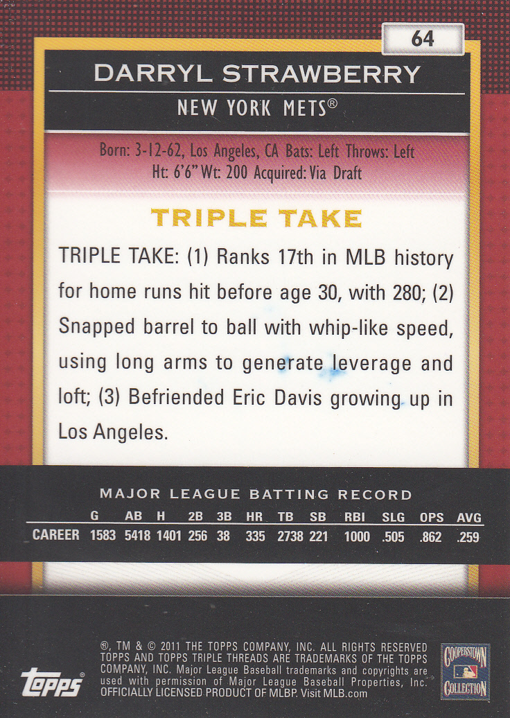 2011 Topps Triple Threads #64 Darryl Strawberry back image