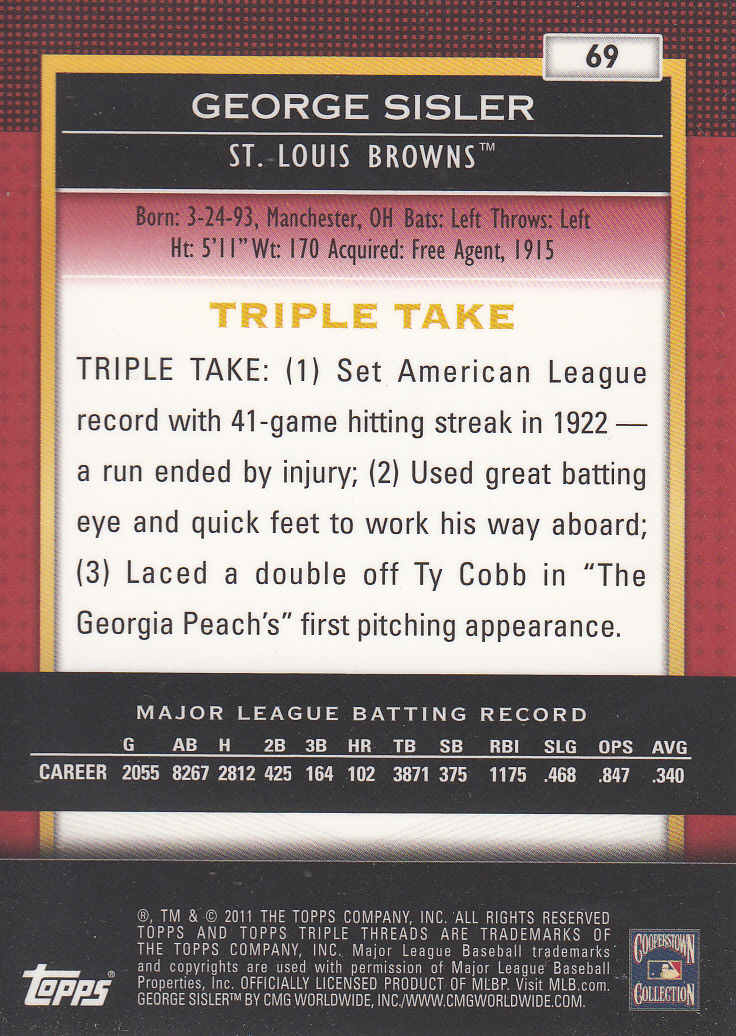 2011 Topps Triple Threads #69 George Sisler back image