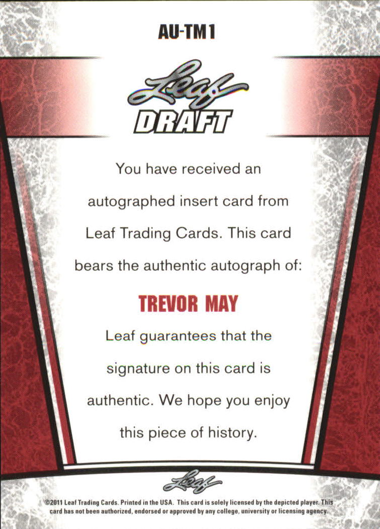 2011 Leaf Metal Draft #TM1 Trevor May