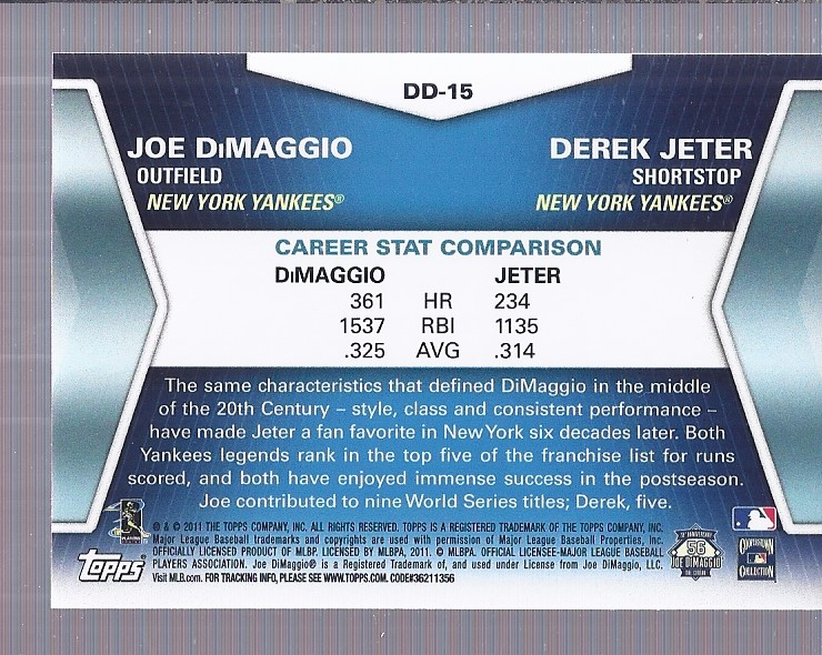 2011 Topps Update Diamond Duos #DD15 Joe DiMaggio/Derek Jeter back image