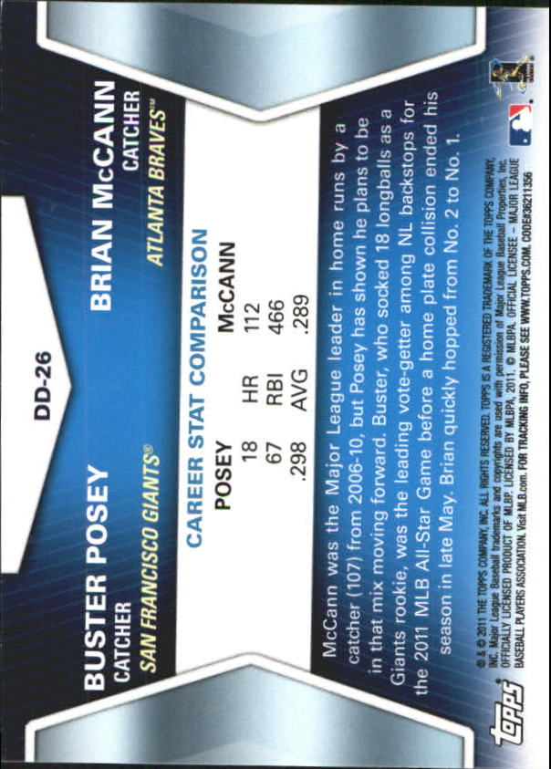 2011 Topps Update Diamond Duos #DD26 Buster Posey/Brian McCann back image