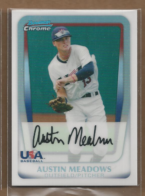 2011 Bowman Chrome Draft Prospects Refractors #BDPP100 Austin Meadows
