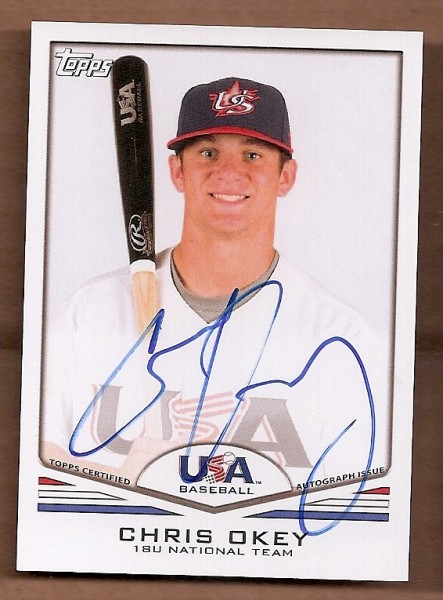 2011 USA Baseball Autographs #A59 Chris Okey