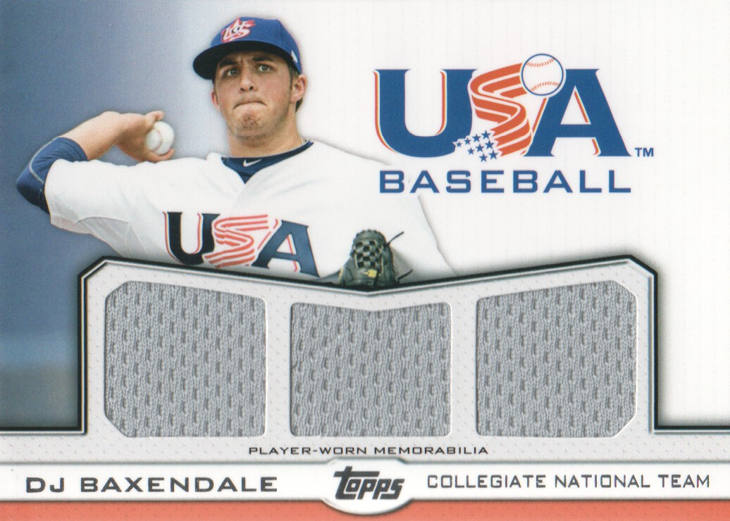 2011 USA Baseball Triple Jerseys #DB D.J. Baxendale