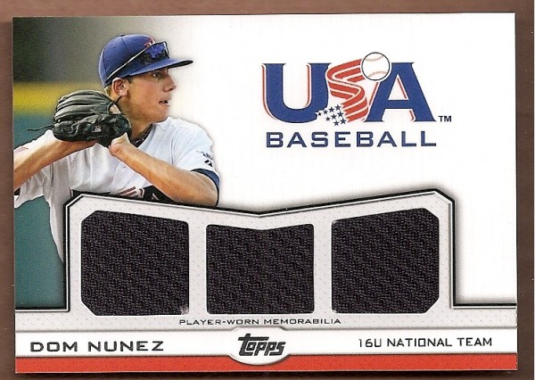2011 USA Baseball Triple Jerseys #DN Dom Nunez