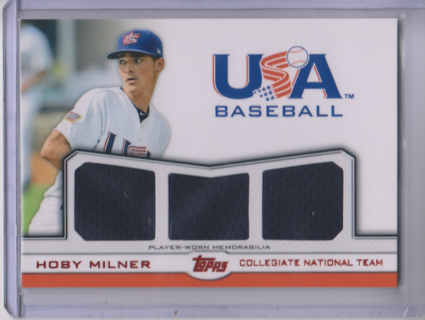 2011 USA Baseball Triple Jerseys Red #HM Hoby Milner