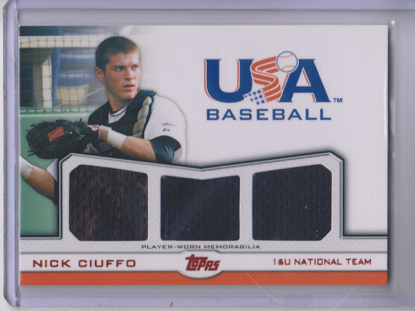 2011 USA Baseball Triple Jerseys Red #NC Nick Ciuffo