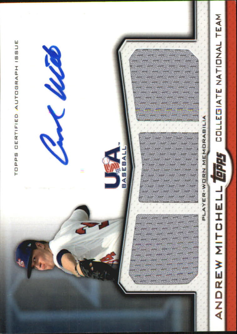 2011 USA Baseball Triple Jersey Autographs #AM Andrew Mitchell/214