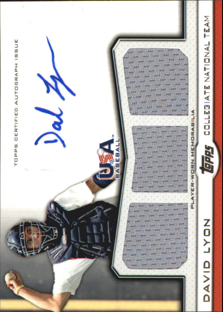 2011 USA Baseball Triple Jersey Autographs #DL David Lyon/214