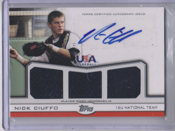 2011 USA Baseball Triple Jersey Autographs #NC Nick Ciuffo/64
