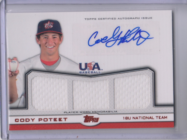 2011 USA Baseball Triple Jersey Autographs Red #CP Cody Poteet