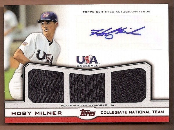 2011 USA Baseball Triple Jersey Autographs Red #HM Hoby Milner