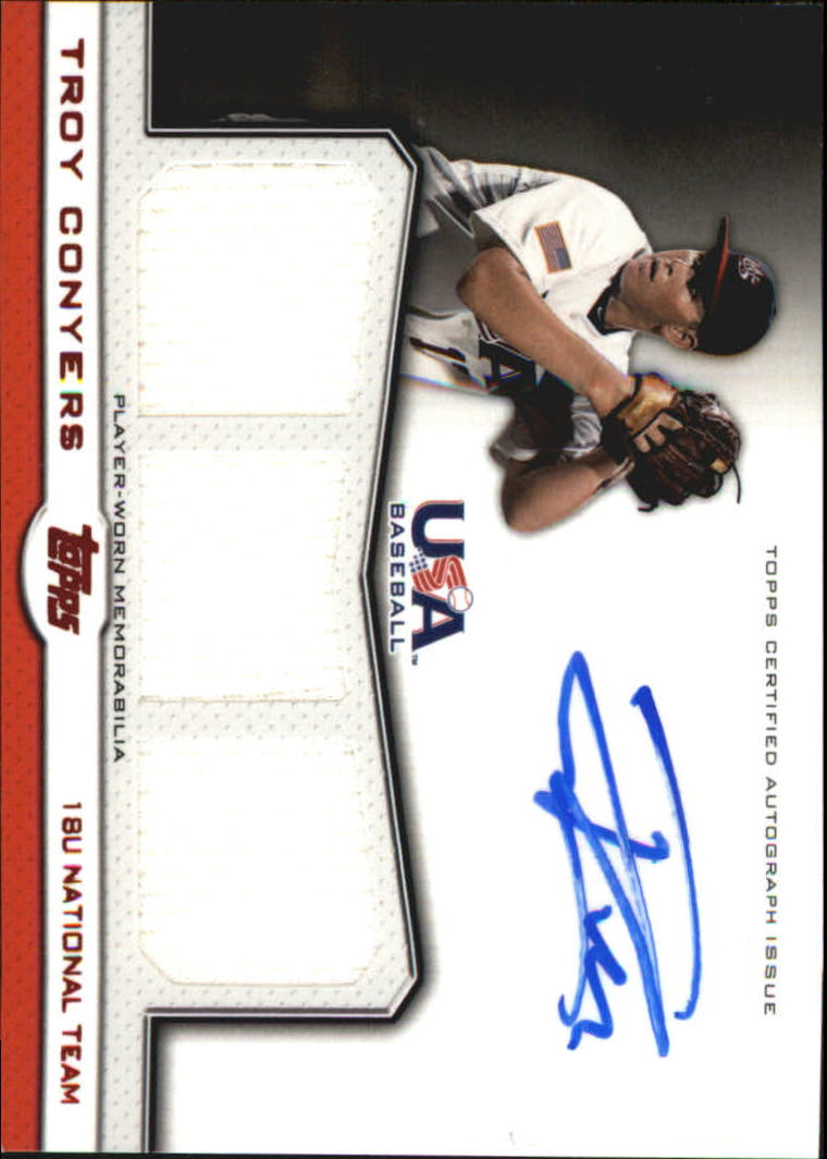 2011 USA Baseball Triple Jersey Autographs Red #TC Troy Conyers