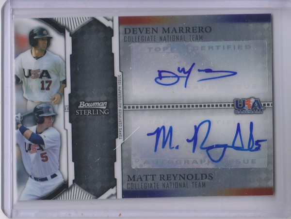 2011 Bowman Sterling Dual Autographs #MR Deven Marrero/Matt Reynolds