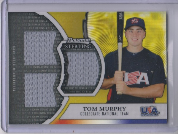 2011 Bowman Sterling USA Baseball Triple Relic Gold Refractors #TM Tom Murphy