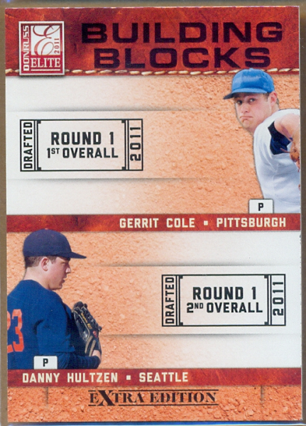 2011 Donruss Elite Extra Edition Building Blocks Quad #7 Danny Hultzen/Dylan Bundy/Gerrit Cole/Trevor Bauer