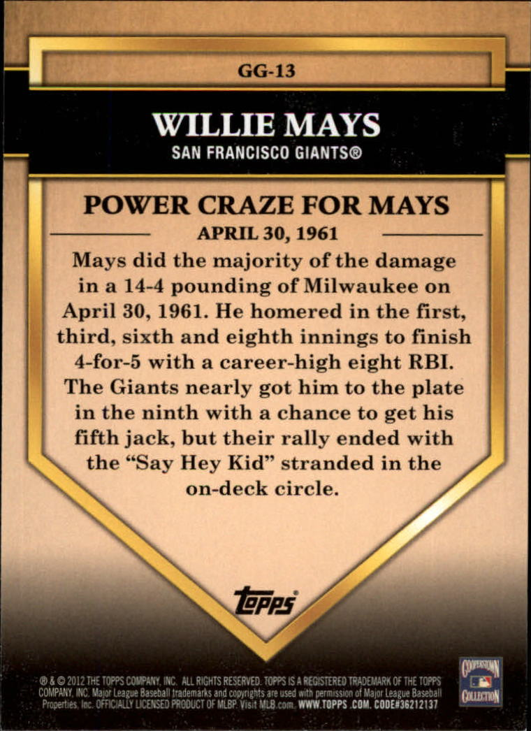 2012 Topps Golden Greats #GG13 Willie Mays