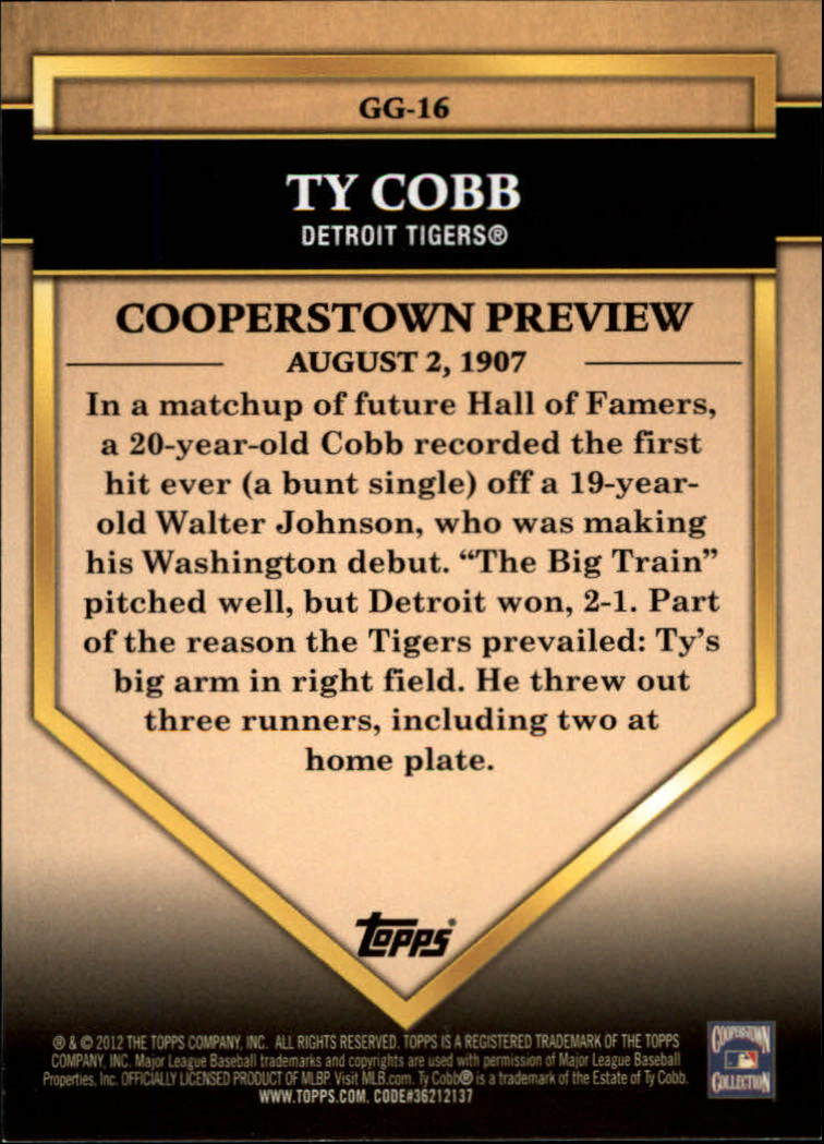 2012 Topps Golden Greats #GG16 Ty Cobb