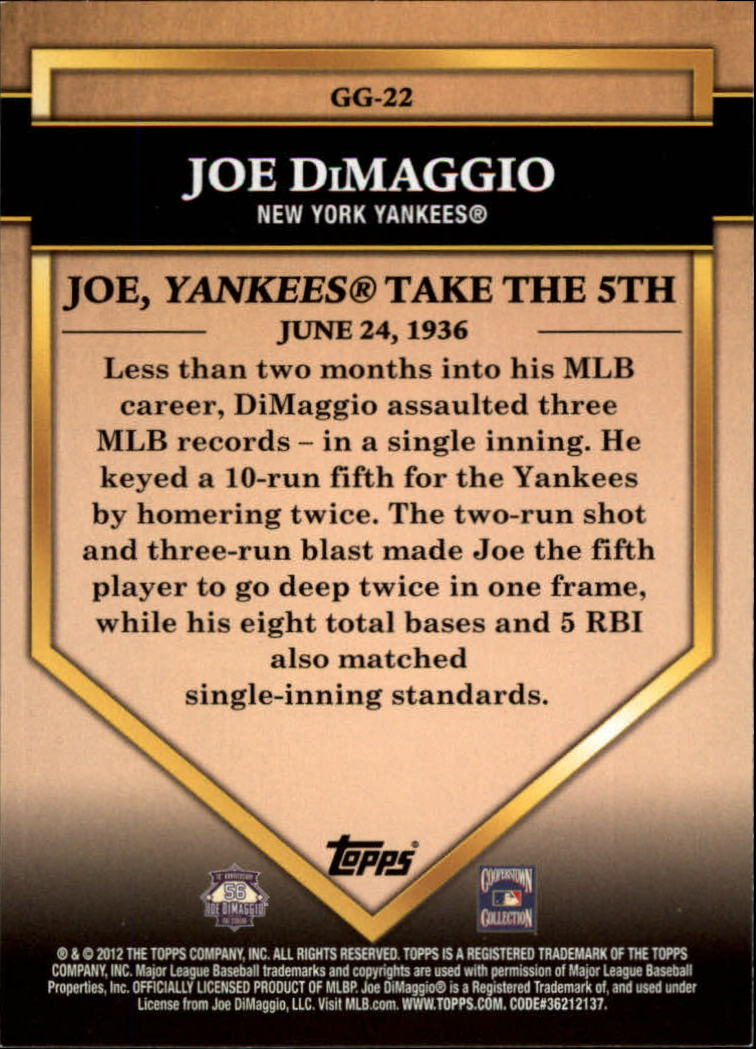 2012 Topps Golden Greats #GG22 Joe DiMaggio