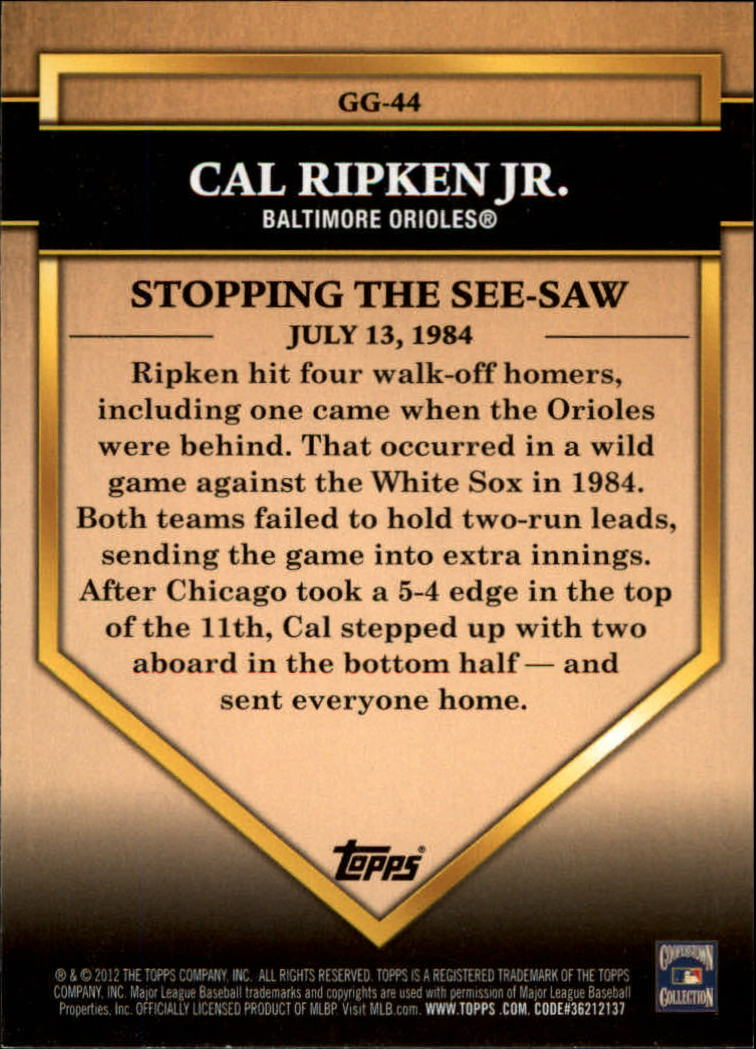 2012 Topps Golden Greats #GG44 Cal Ripken Jr. back image