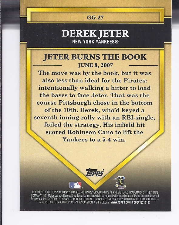 2012 Topps Golden Greats #GG27 Derek Jeter