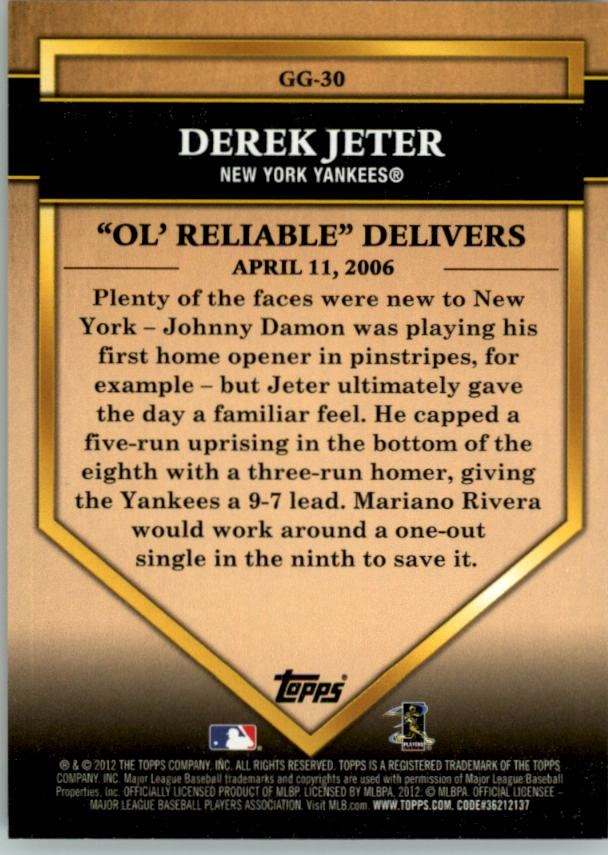 2012 Topps Golden Greats #GG30 Derek Jeter back image